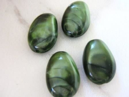 Green Pearl 14x20mm Teardrop Acrylic Plastic Beads - product images  of