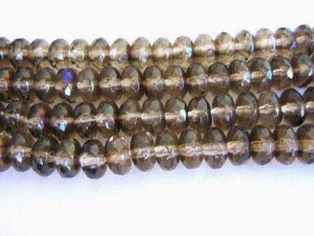Brown,7x4mm,Faceted,Rondelle,Czech,Glass,Beads,Light,Smoke,Topaz,Zarit,supplies,Bead,rondelle_beads,brown_czech_beads,czech_beads,rondelle_czech_beads,glass_beads,brown_glass_beads,4x7mm_faceted_rondelle_beads,spacer_beads,Beads2string,bead_store,jewelry_supplies