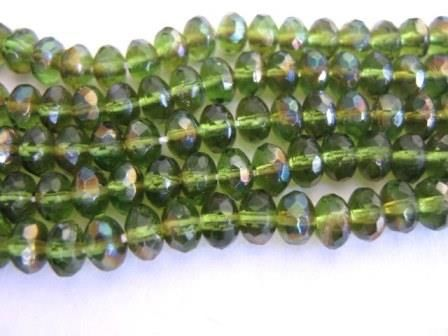 Olivine,Celsian,5x3mm,Faceted,Rondelle,Czech,Glass,Beads,Transparent,Green,Fire,Polished,Supplies,Bead,rondelle_czech_beads,5x3mm_rondelle,faceted_rondelle,olive_celsian,rondelle_glass_beads,green_glass_beads,green_rondelle_beads,czech_beads,glass_beads,glass_rondelle_beads,craft_supplies,bead_store,green_czech_beads,Beads2string