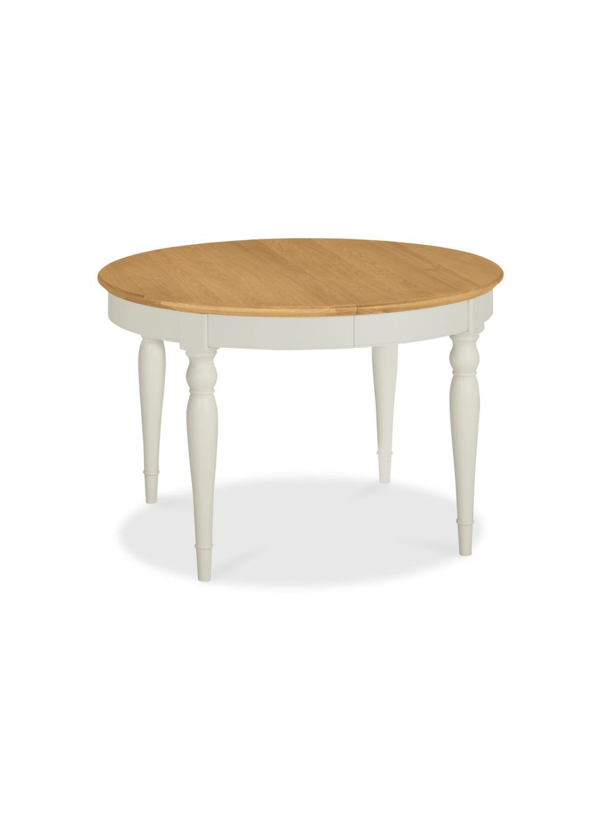 Jarvis Round Extension Table In Soft Grey And Oak   Product Image