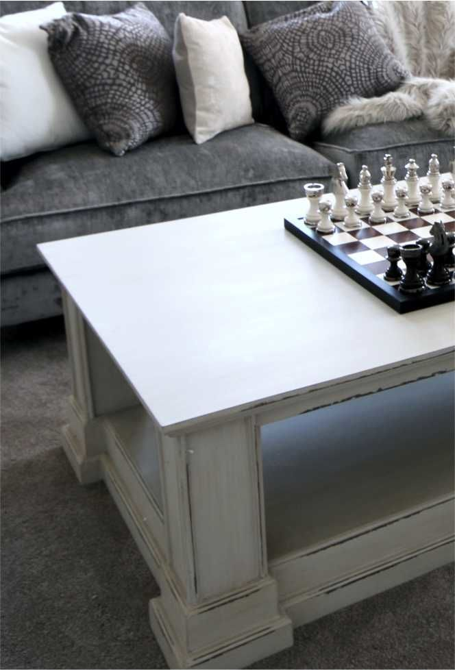 Distressed Gray Coffee Table.Large Grey Coffee Table