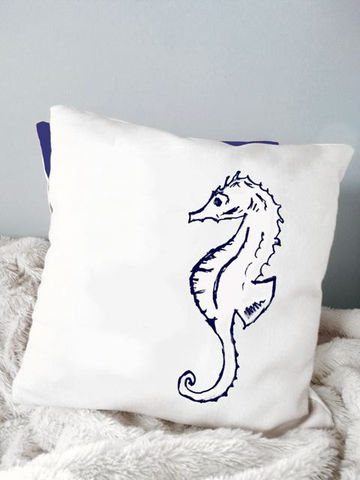 Seahorse,Pillow,Housewares,Novelty,beach_house,beach_house_living,beach_chik_designs,seahorse_pillow,nautical,navy_blue_white,coastal_pillow,seashell,shore,custom_pillow,seashore,starfish,beach_cottage_pillow