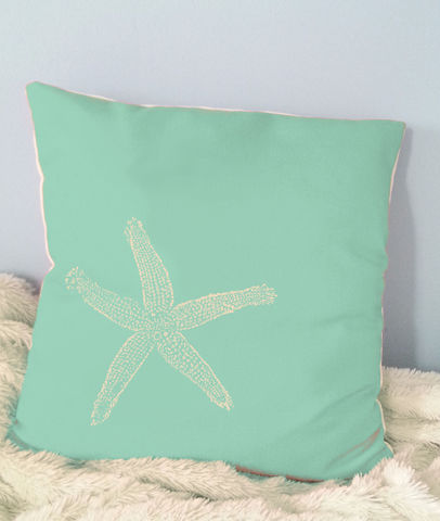 Starfish,Throw,Pillows-,16x16in,Housewares,Pillow,Novelty,coral,sand,beach_house,beach_house_living,beach_chik_designs,starfish,starfish_pillow,starfish_throw,coral_starfish,green_starfish,sand_starfish