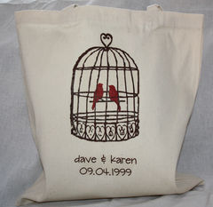 Love,Birds,Bags_And_Purses,Tote,Canvas,engagement,love_birds,lovebirds,spring,birdcage,wedding,bridal_shower,etsynj_team,love,vintage_bird_cage,personalized,custom_tote,personalized_tote
