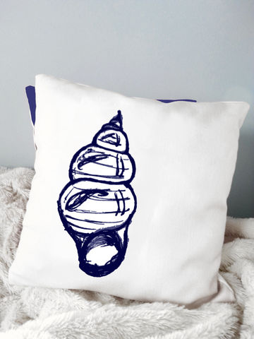 Seashell,Pillow,Housewares,Novelty,beach_house,beach_house_living,beach_chik_designs,seashell_pillow,starfish_pillow,seahorse_pillow,nautical,navy_blue_white,coastal_pillow,seashell,shore,custom_pillow,seashore
