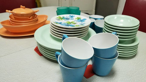 Melmac,&,Boontonware,Lot,Housewares,melmac,boonton,1950s_dinnerware,1960s_dinnerware,kitschy_kitchen,kitsch,turquoise,aqua,mint_green,orange
