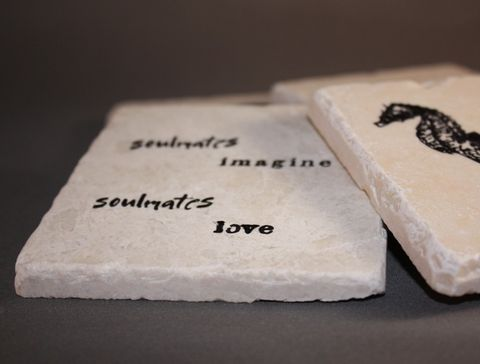 Soulmate,Coasters,Housewares,Coaster,seahorse,love,soulmate,beach,coastal,gift,for_her,for_them,white,etsynj_team,hostess_gift,best_friend,tiles,cork,ink