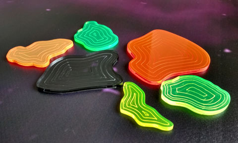 Acrylic,asteroids,(set,of,6),x-wing xwing miniatures game tokens counters acrylic laser cut asteroids