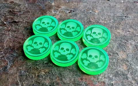 Poison,marker,set,(12,tokens),Malifaux, guildball, poison condition, poison tokens