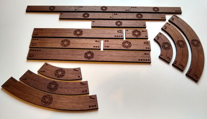 X-Wing V2 Manoeuvre templates (Wooden, full set) - product images  of