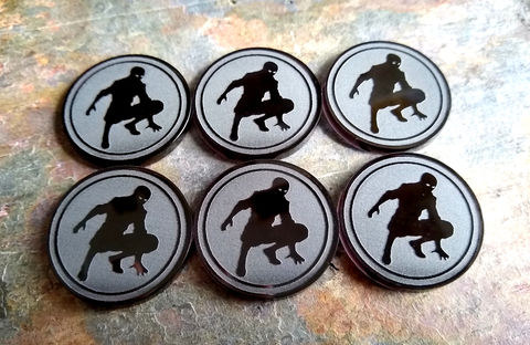 Shadow,Markers,30mm,(set,of,6),Malifaux, scheme markers, tomes, rams, crows, masks
