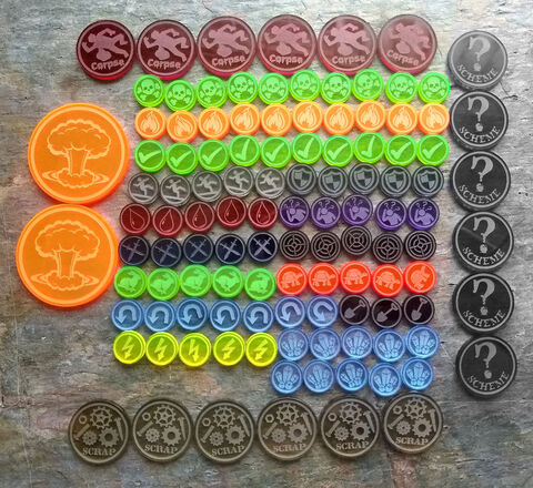 Steam,&,Magic,3E,Bundle,Set,(115,tokens),Malifaux, scheme markers, tomes, rams, crows, masks