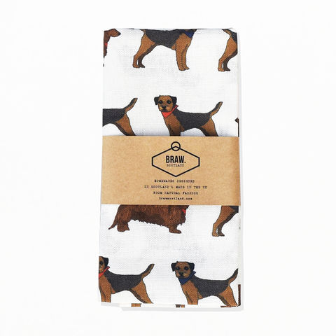 'Border,Sausage',Tea,Towel,-,Wexford,Linen,braw scotland, braw, scottish, home accessories, homewares, border terrier, sausage dog, border terrier fabric, sausage dog fabric, dachshund fabric, terrier fabric, dog fabric, dog print, Wexford Linen, Tea Towel, UK Made, Textile, Scotland