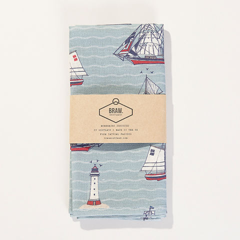 'The,Shore',Tea,Towel,-,Wexford,Linen,braw scotland, braw, scottish, home accessories, homewares, boats, nautical, sailing, ships, harbour, sea, seaside,, Wexford Linen, Tea Towel, UK Made, Textile, Scotland