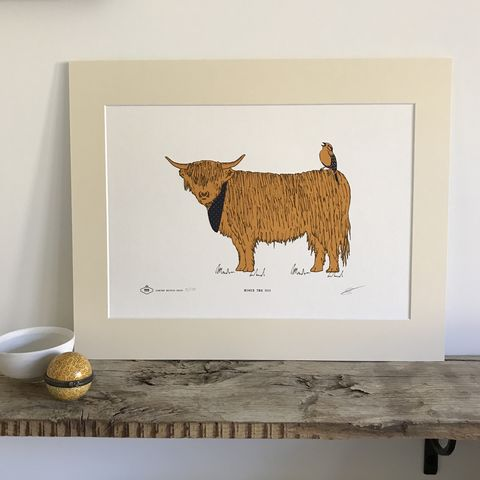 Howie,the,Coo,Limited,Edition,Giclee,Art,Print,screen print, art print, giclee print, highland cow, scottish art, scottish, cow art, cow print, highland cattle, cattle, decor, interior