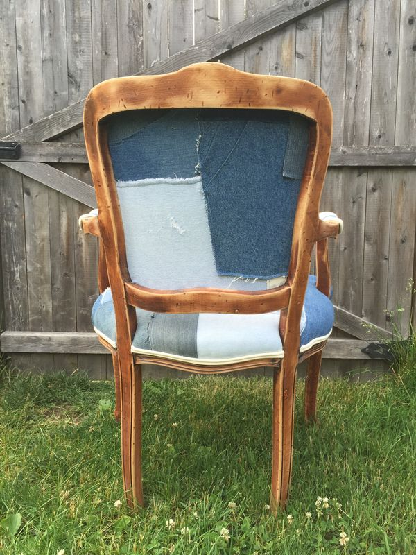 Vintage Denim Antique Fabric Chair - product images  of