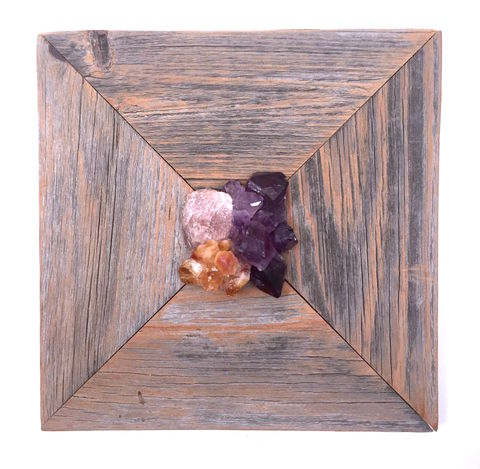 A,Trilogy,of,Powerful,Crystals,crystal art, healing crystals, crystal, wall art, amethyst, citrine, rose quartz, nature art