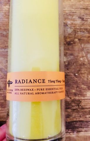 Radiance,Beeswax,Aromatherapy,Sanctuary,Candle,beeswax candle, aromatherapy candle, clean candle, eco candle, glass candle, ylang ylang, tangerine candle, sanctuary candle, candle, beeswax, glass vessel candle