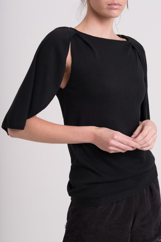 Carlota, cape sleeve, boat neck, slash neck, evening top