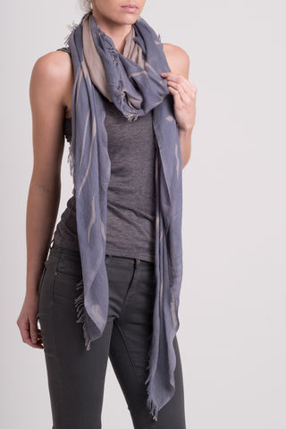 Rocco, stone, steel, basketweave scarf, cashmere, frayed edges, mono print, scarves, designer, square