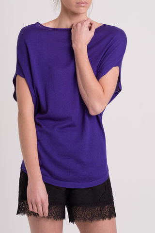 Tim,tim, cashmere silk mix, draped top, purple, violet, short sleeve, slash neck, drape, drapey