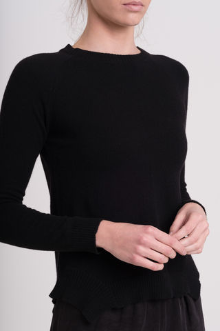 Rhiannon, crew neck, cut out, hem, black sweater