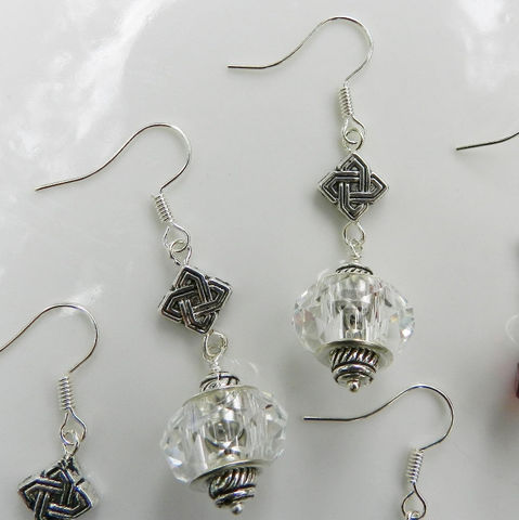 Crystal,Earrings,with,Celtic,Knot,Crystal earrings, celtic knot, jewel tones, aqua, black, clear