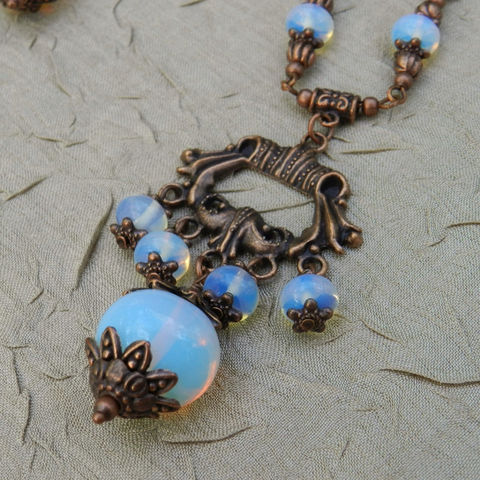 Opalite,with,Antique,Copper,Necklace,and,Earrings,Jewelry,mckenzie_creek,one_of_a_kind,handmade,jewelry_set,original_design,copper,opalite,toggle,dangle,sea_opal,gift