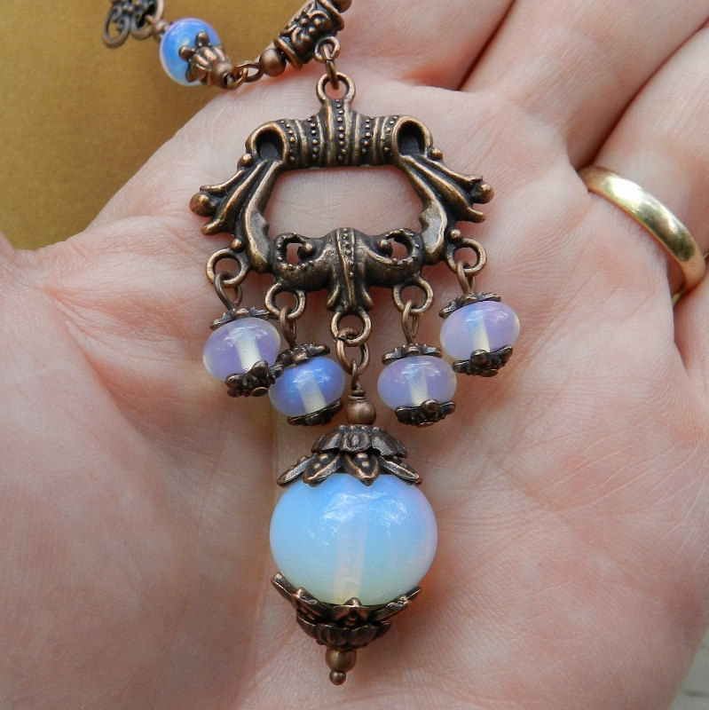 Opalite Jewelry, Antique Copper Necklace & Earrings  - product images  of