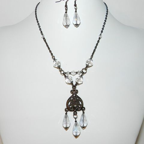 Gunmetal,Crystal,Necklace/Earring,Set,Goth Necklace, wedding jewelry, bridal set, bridal jewelry, gunmetal necklace, gunmetal earrings, crystal necklace, black necklace, McKenzie Creek Jewelry, One of a kind jewelry, handmade, jewellery, sparkly, glitzy, special occasion jewelry