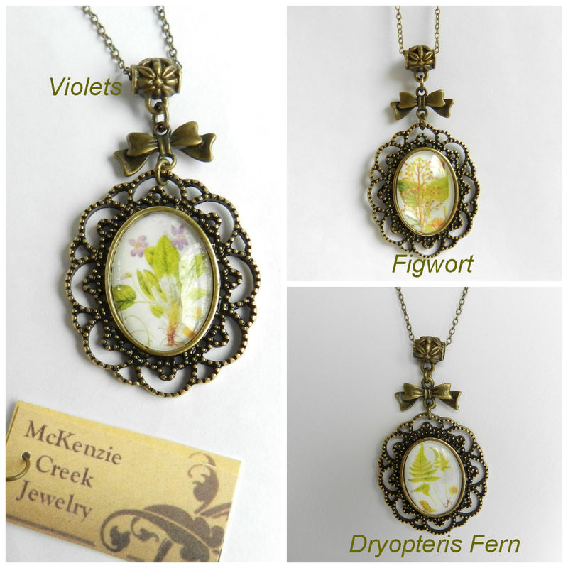Flower Necklace, Glass Cabochon Jewelry, Ferns, Violets, Flowers - product images  of