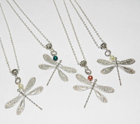 Dragonfly,Necklace,,with,Pearl,Accent,Jewelry,Necklace,dragonfly_necklace,pearl_necklace,pendant_on_chain,dainty_jewelry,nature,organic,pretty,silver,gift_for_girl,gift_for_woman,Christmas_gift,Valentine's_day,chain,lobster clasp,dragonfly pendant,jump ring,glass pearl,eyepin