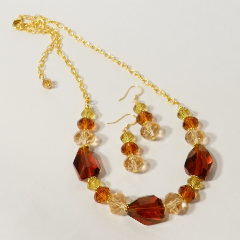 Autumn Necklace & Earrings, Chunky Brown and Gold Crystal Jewelry Set - product image