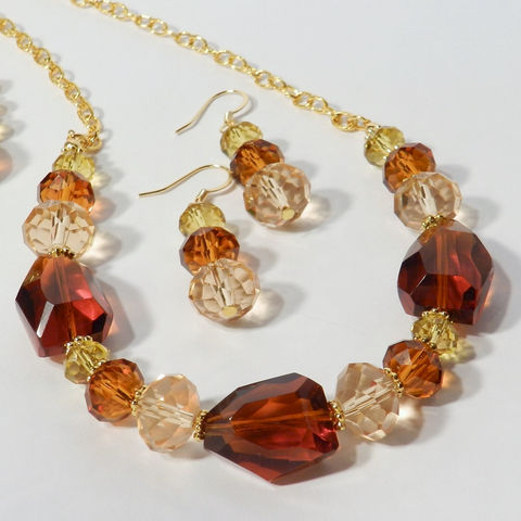 Autumn,Necklace,&,Earrings,,Chunky,Brown,and,Gold,Crystal,Jewelry,Set,jewelry_set,special_occasion,fancy_necklace,chunky,gold,crystal,long_necklace,dressy_necklace,brown_necklace,beadcaps,spacer beads,glass beads,beading wire,chain,lobster clasp,earwires,headpins