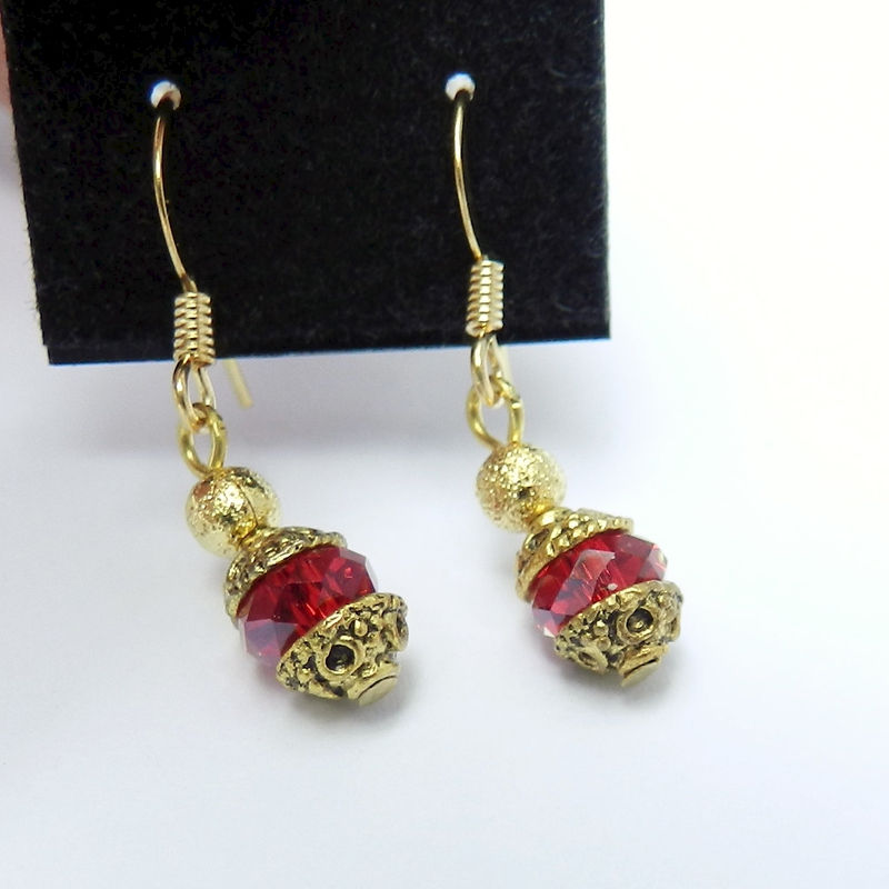 Dainty Red Crystal Earrings - product images  of