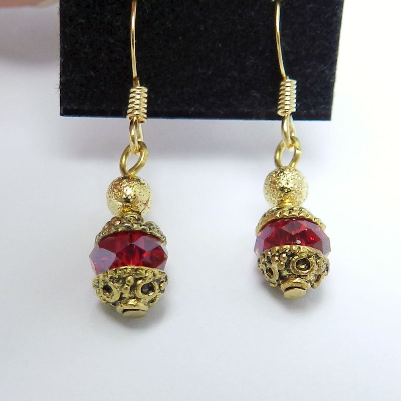 Red Crystal Earrings, Dainty Earrings, Gold Earrings, Handmade Jewelry - product images  of