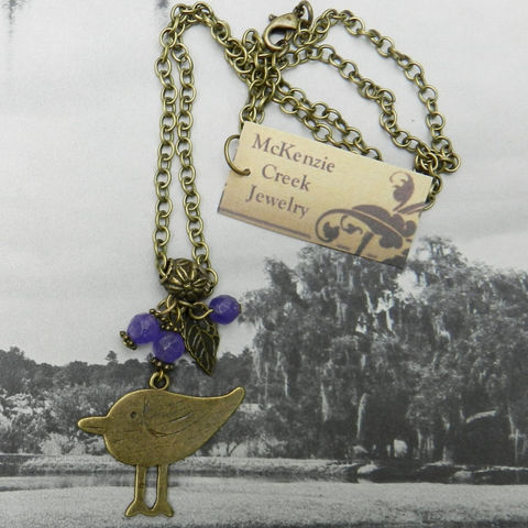 Bird,Necklace,,Purple,Handmade,Jewelry,Necklace,bird_necklace,purple_necklace,antique_brass,chain_necklace,nickel_safe,faceted_beads,sugilite_necklace,leaf_pendant,bird_pendant,lobster clasp,Chain,bail,bird charm,spacers,eye pins,jump rings,sugilite beads,leaf charm