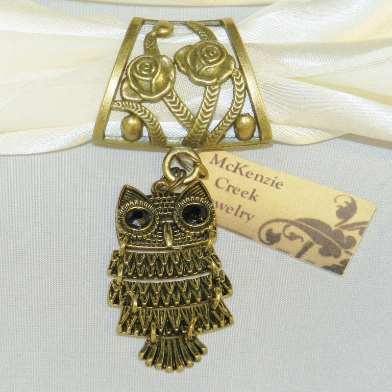 Owl Scarf Slide, Antique Bronze, Scarf Jewelry, Owl Jewelry, Scarf Charm, Scarf Accessory - product images  of