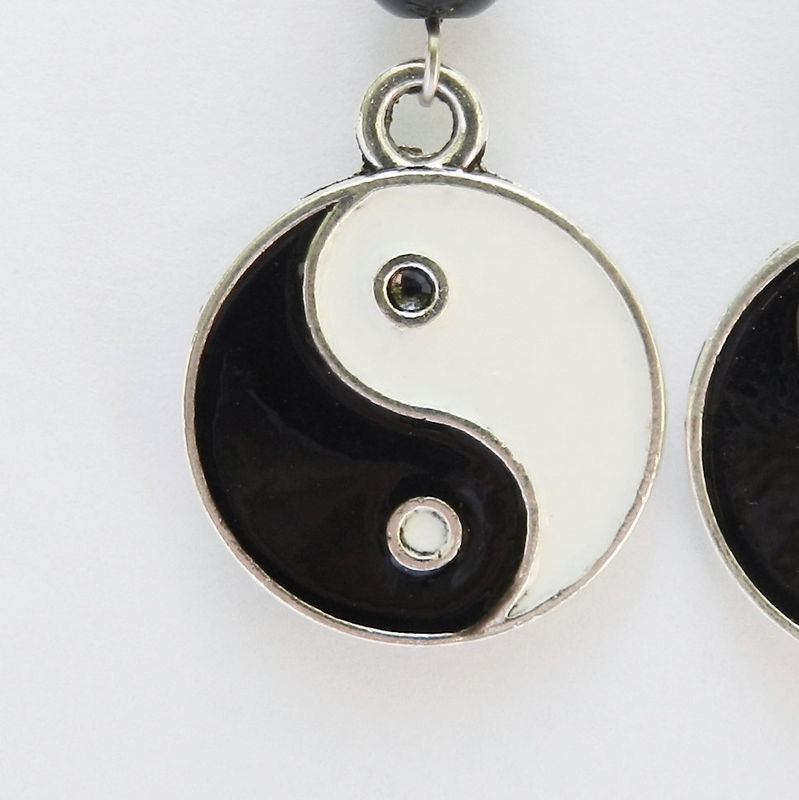 Yin Yang Earrings, Hippie Jewelry, Black and White - product images  of