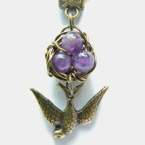 Bird,Nest,Necklace,,Amethyst,Purple,Jewelry,Necklace,bird_necklace,Swallow,purple_necklace,pendant,antique_brass,birds_nest,birdnest,nest_necklace,amethyst,eggs_in_nest,handmade,wirework,lobster clasp,Chain,swallow charm,wire,bail