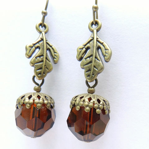 Acorn,Earrings,for,Fall,,Brown,,Oak,Leaf,Jewelry,mckenzie_creek,one_of_a_kind,handmade,jewelry_set,antique_brass,Fall_Jewelry,dangle,acorn_earrings,nature_lover,earthy,organic,Oak_leaf,fish hook brass earwires,crystal,headpins,beadcaps,leaf links