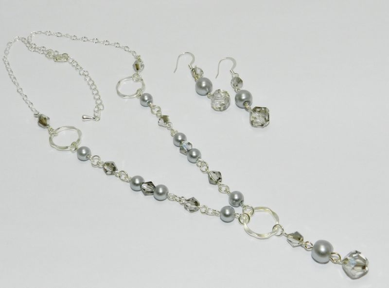 Silver Pearl Necklace + Earring Set  - product images  of