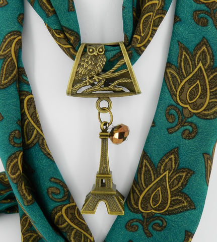 Scarf,Slide,with,Eiffel,Tower,,Owl,Jewelry,scarf_charm,scarf_accessory,scarf_pendant,scarf_jewelry,scarf_slide,scarf_bling,antique_brass,animal_jewelry,owl_jewelry,Eiffel_Tower,scarf_ring,Eiffel tower pendant,Owl bail in antique brass