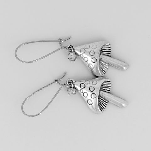 Silver,Mushroom,Earrings,Jewelry,Mushroom_earrings,'shroom_earrings,fairy_jewelry,earthy,fun,rhinestone,kidney_earwires,Mushroom charms,rhinestone dangles,kidney earwires