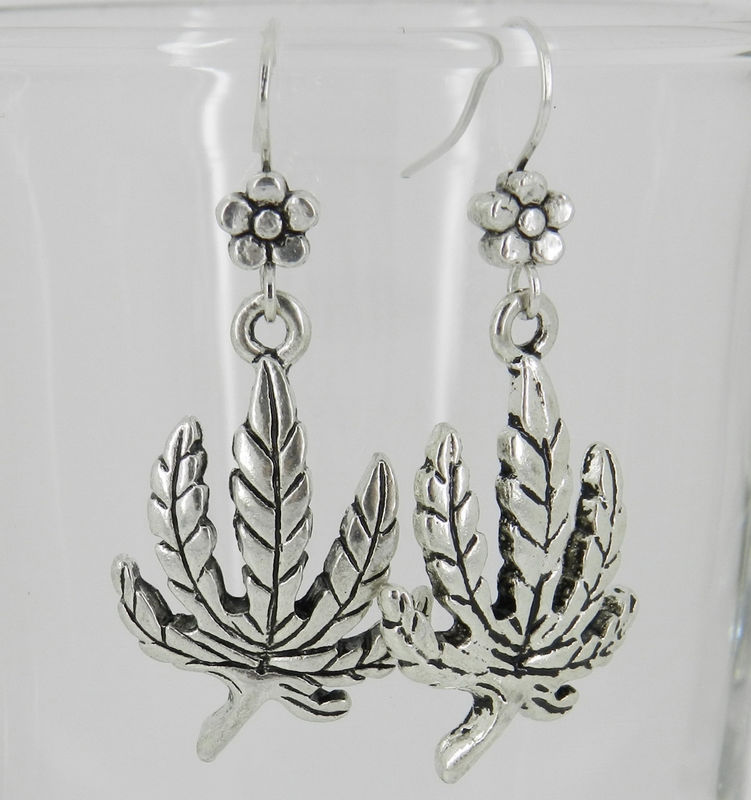 Cannabis Earrings, Marijuana Leaf Earrings, Hippie Jewelry  - product images  of