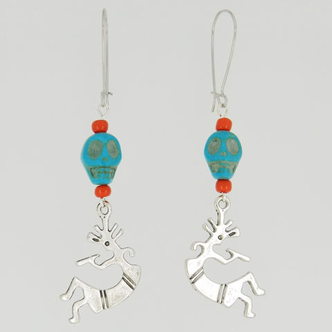 Kokopelli,Earrings,Southwestern,Jewelry,Flute,Player,charm_earrings,skull_earrings,skull_jewelry,tribal_earrings,turquoise_earrings,kidney_earwires,southwest_earrings,native_american,kokopelli,turquoise magnesite skull beads,kidney ear wires,glass seedbeads,eyepins,kokopelli charms