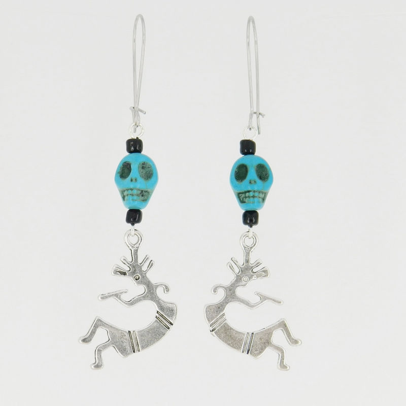Kokopelli Earrings with Turquoise Beads, Skull Jewelry, Southwest - product images  of