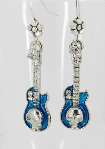 Guitar,Earrings,,Skull,,Blue,Jewelry,Earrings,silver_earrings,charm_earrings,flower_earrings,guitar_earrings,blue_earrings,music_jewelry,rock_and_roll,skull_earrings,skull_jewelry,band_jewelry,electric_guitar,blue_enamel