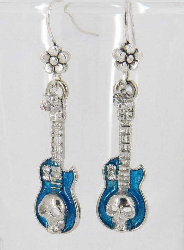 Guitar Earrings, Skull Jewelry, Blue Enamel - product images  of