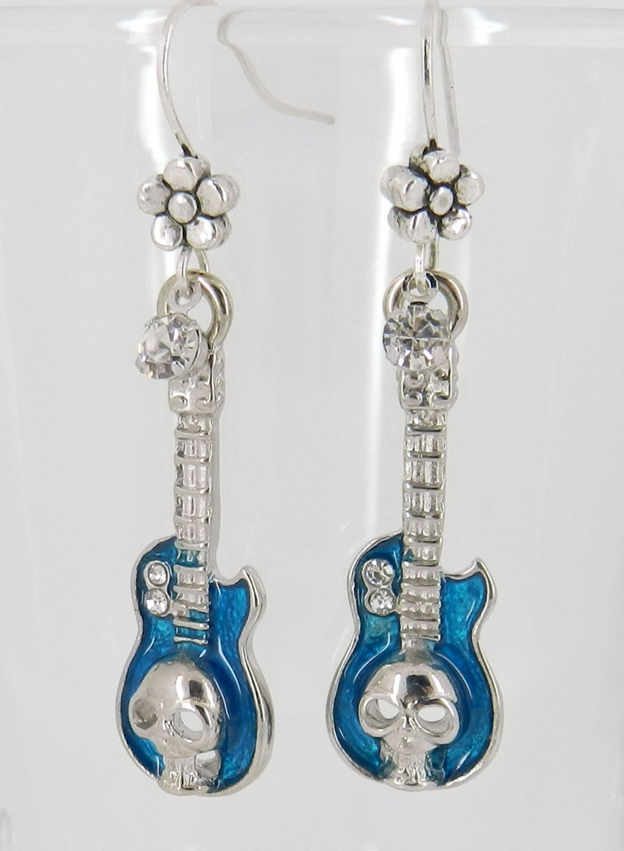 Guitar Earrings, Skull, Blue  - product images  of